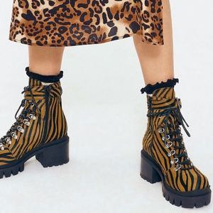 Free People X Jeffrey Campbell check lace up boot
